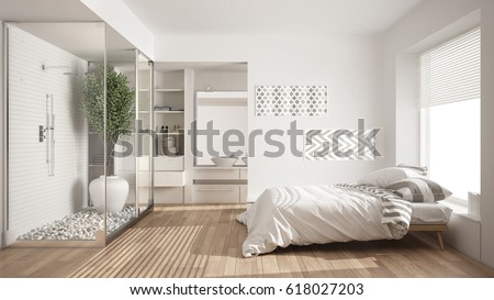 Minimalist bedroom and bathroom with shower and walk-in closet, classic scandinavian interior design, 3d illustration