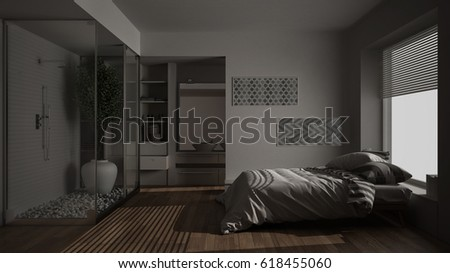 Minimalist bedroom and bathroom with shower and walk-in closet, night view, classic scandinavian interior design, 3d illustration
