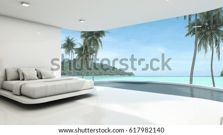 Minimalist bedroom background take view sea -3D render #617982140