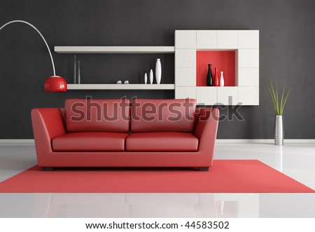 Minimalist Black White And Red Lounge Rendering Stock