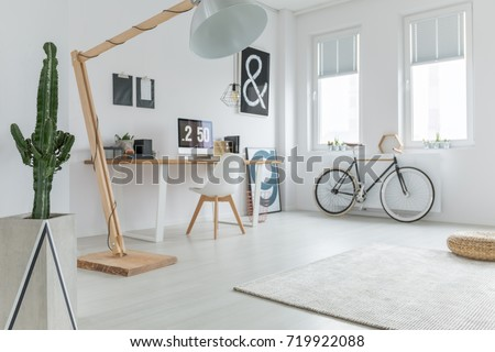 Minimalist blogger's home office with plant, rug and bike  #719922088