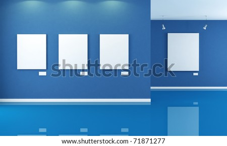 minimalist blue art gallery with empty canvas - rendering