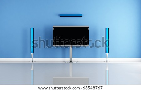 minimalist blue home theater white futuristic speaker - rendering