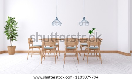Minimalist dinning room interior design ,wood table and wooden chair on white room,3d render