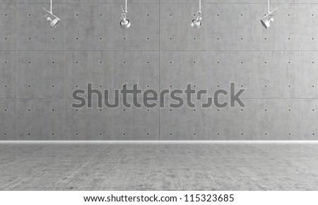 Minimalist  empty room with panel and concrete floor - rendering