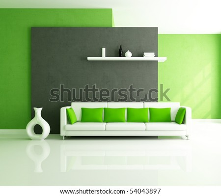 minimalist green and balck interior with modern couch