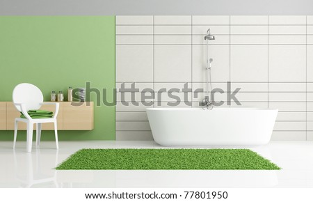 minimalist green and white bathroom
