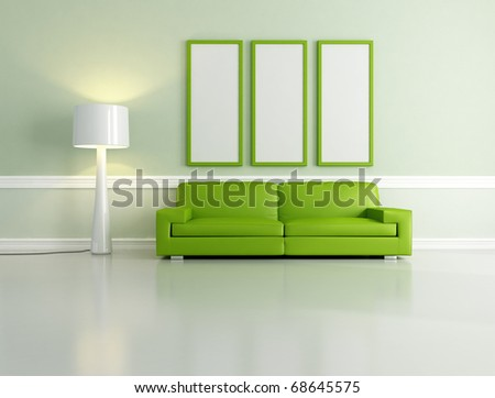 minimalist green living room with empty frame and floor lamp - rendering