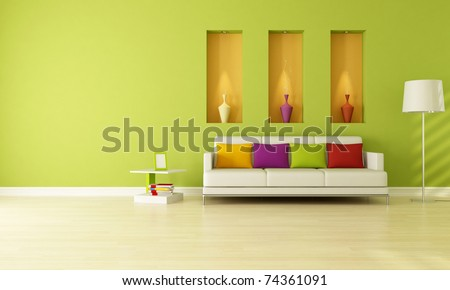 minimalist green living room with three niche -rendering