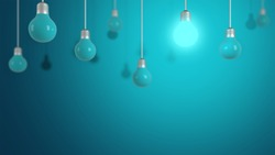 Minimalist hanging blue lamp on blue flat background, Place for your text. Creative idea concept, Lighting, electricity, background with lamp - Image