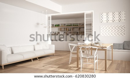 Minimalist kitchen and living room with sofa, table and chairs, white modern interior design, 3d illustration #620830280