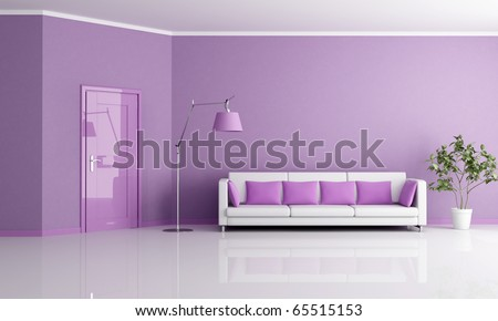 minimalist lilla living room with door and couch - rendering