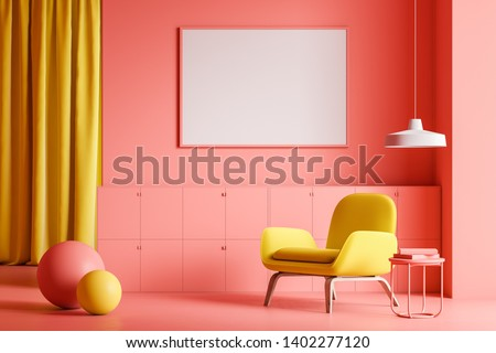 Minimalist living room interior with pink walls and floor, yellow curtain and comfortable yellow armchair with horizontal mock up poster above it. Table with books and two balls. 3d rendering