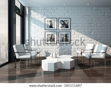 Minimalist living room interior with white brick wall and chairs #185111687