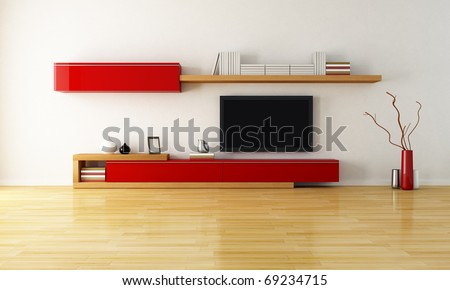 minimalist living room with cabinet shelves and lcd tv - stock photo