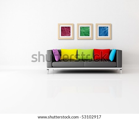 minimalist living room with colored couch and abstract picture - the images on wall are my composition