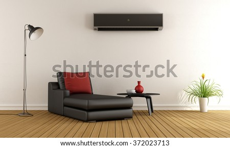 Minimalist living room with couch and air conditioner  on wall - 3D Rendering