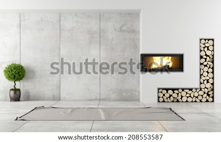 Minimalist living room with fireplace without furniture Сток-фото ©