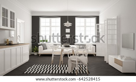 Minimalist Modern Kitchen With Dining Table And Living Room White