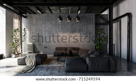 Minimalist modern living room with sofas in loft style flat. 3d Rendering