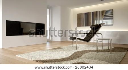 Minimalist modern white interior with armchair (3D render)