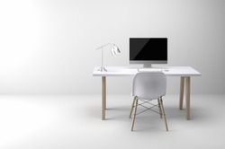 Minimalist modern working space in white room, 3d rendering