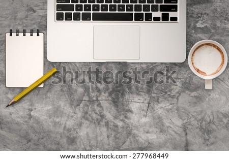 minimalist office desk top view