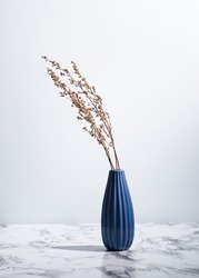 Minimalist photo of blue vase with dried plants on marble surface on light background
