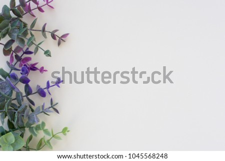 Minimalist plant background. Differents green branches is lying on a beige background. Flat lay. Modern minimalistic mockup with empty space #1045568248
