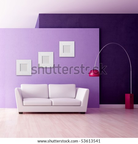 minimalist purple interior with white couch - rendering
