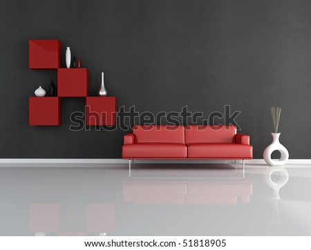 minimalist red and blck lounge - rendering