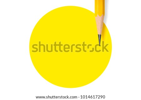 Minimalist template with copy space by top view close up macro photo of wooden yellow pencil isolated on white texture paper and combine with yellow circle. Flash light made smooth shadow from pencil. #1014617290