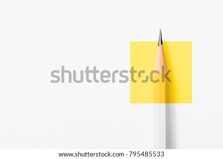Minimalist template with copy space by top view close up macro photo of wooden yellow pencil isolated on white texture paper and combine with yellow square. Flash light made smooth shadow from pencil. #795485533