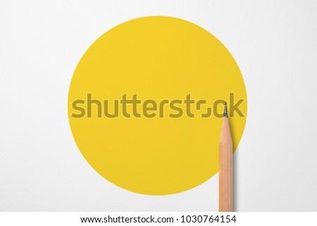 Minimalist template with copy space by top view close up photo of wooden pencil isolated on white paper and combination with yellow shape graphic. Flash light made smooth shadow from pencil. #1030764154