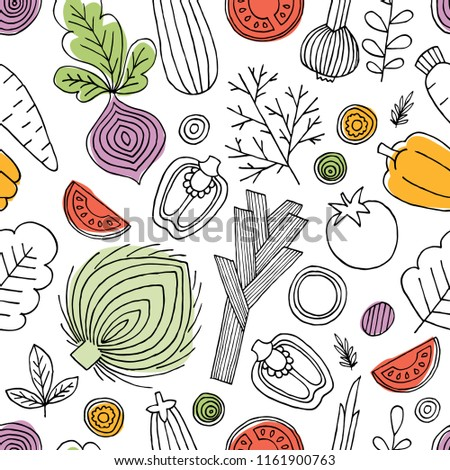Minimalist vegetables seamless pattern. Linear graphic. Vegetables background. Scandinavian style. Healthy food.