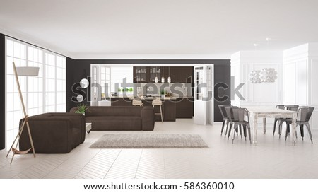 Awesome Minimalist White And Brown Living And Kitchen, Scandinavian Classic  Interior Design, 3d Illustration