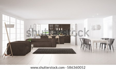 Minimalist White And Brown Living And Kitchen, Scandinavian Classic  Interior Design, 3d Illustration