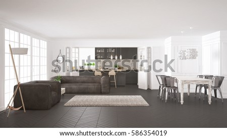 Good Minimalist White And Gray Living And Kitchen, Scandinavian Classic Interior  Design, 3d Illustration