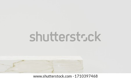 Minimalist white pedestal for product showcase. Geometric shapes.Marble texture. Empty stage. 3d render illustration