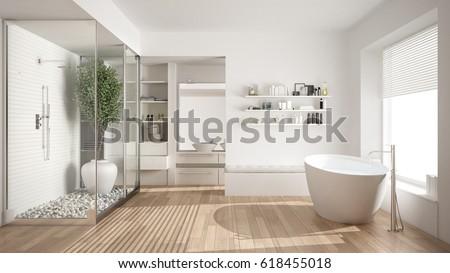 Minimalist white scandinavian bathroom with walk-in closet, classic scandinavian interior design, 3d illustration