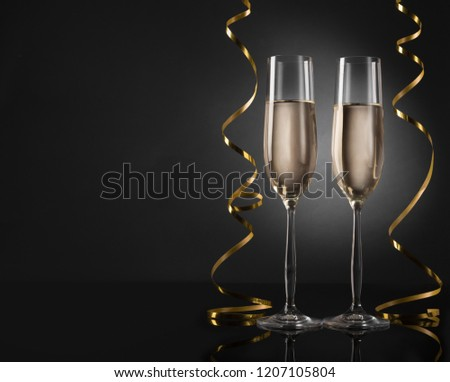 Minimalistic background with champagne glasses, copy space #1207105804