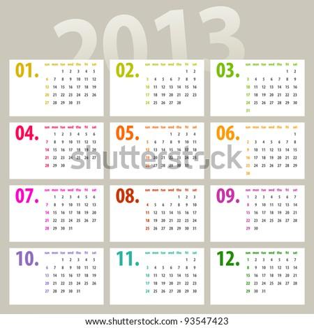 minimalistic 2013 calendar design - week starts with sunday