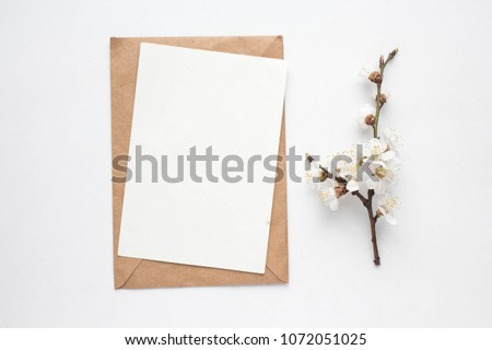 Minimalistic card mockup with cherry branch, flower, craft envelope, blossom, flat lay, top view #1072051025