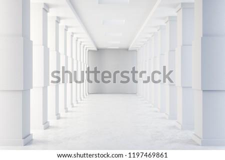 Foto mural Minimalistic concrete tunnel interior. Futuristic design and accomodation concept. 3D Rendering