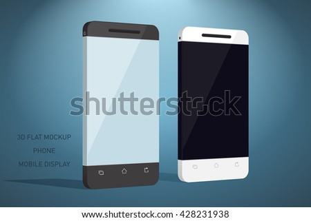 Minimalistic 3d flat illustration of mobile phone. perspective view. Mockup generic smartphone. Template for infographics or presentation UI design
