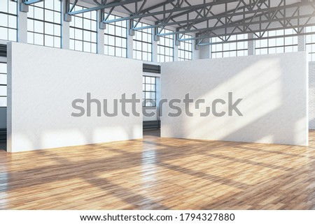 Minimalistic exhibition interior with two empty exhibition stands, and wooden floor. Presentation concept. Mock up. 3D Rendering Stock fotó ©