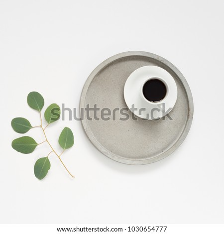 Minimalistic flat lay. White background, grey concrete tray , eucaluptus greenery and coffee #1030654777