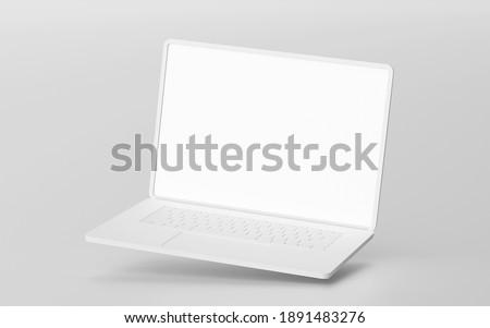 Minimalistic floating laptop blank screen mockup, 3d rendering