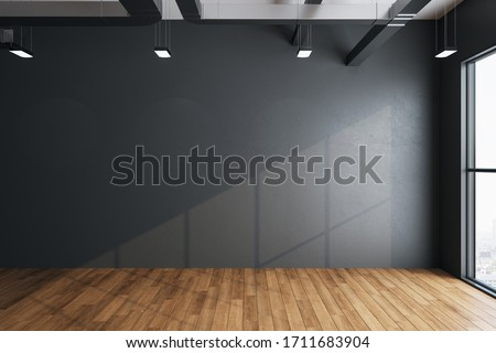 Minimalistic hall interior with empty gray wall, city view and daylight. Gallery and presentation concept. Mock up, 3D Rendering