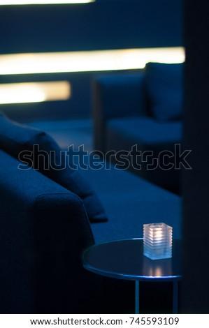 Minimalistic interior design for reception / Modern, minimalistic interior design with sofa and coffee table. #745593109